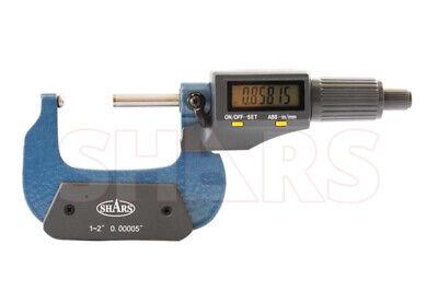 Shars 1-2 Digital Digit Micrometer .001mm .00005 Flat Spindle New