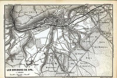 Les environs de SPA 1885: Baedeker area old map - Belgium