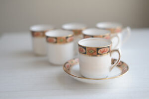 Set of 6 cups and saucers for espresso coffee stamped Royal Albe