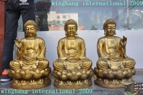 Old China Bronze Buddhism 3 Sit Lotus Sakyamuni Shakyamuni Tathagata Buddha Set
