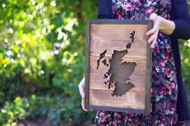 Wooden wall art, Scotland map, Scottish wall hanging, wedding gift, home decor