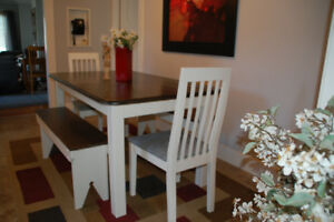 Refinished farmhouse table complete with 2 chairs and 2 benches