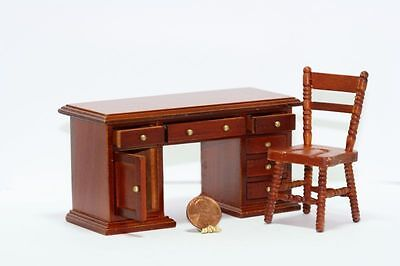 Dollhouse Miniature 1:12 Scale Cherry Wood Desk & Chair Set