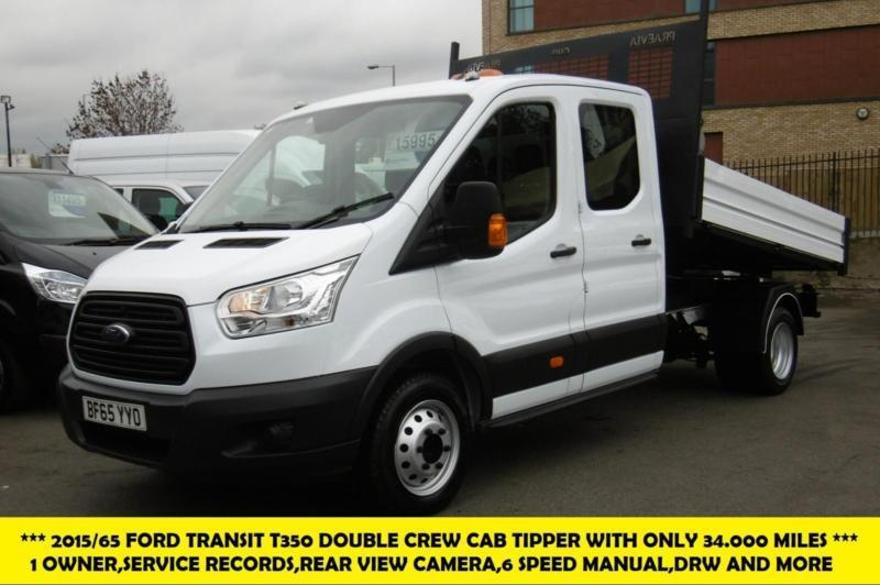 c8059098f4379f 2015 FORD TRANSIT 350 L3 DOUBLE CREW CAB ALLOY TIPPER WITH ONLY 34.000  MILES