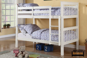 NEW ★ Solid Wood Bunk Bed ★ Can Deliver ★ Wh/Espresso Cambridge Kitchener Area image 5