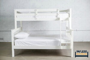 NEW ★ Solid Wood Bunk Bed ★ Can Deliver ★ Wh/Espresso Cambridge Kitchener Area image 2