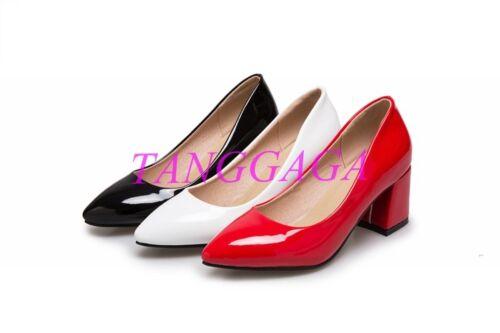Vogue Womens Shiny Patent OL Mid Block Heels Pointed Toe Womens Shoes Wedding Sz