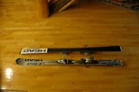 Women's downhill skis, poles, boots