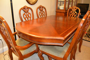 Pine wood dining table+ centre table and hutch buffet set