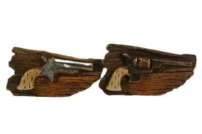 Set of 2 Vintage Western Style Pistol Wall Plaques Resin Brown