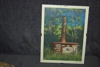 Signed Art Print of Wood Stove in Field