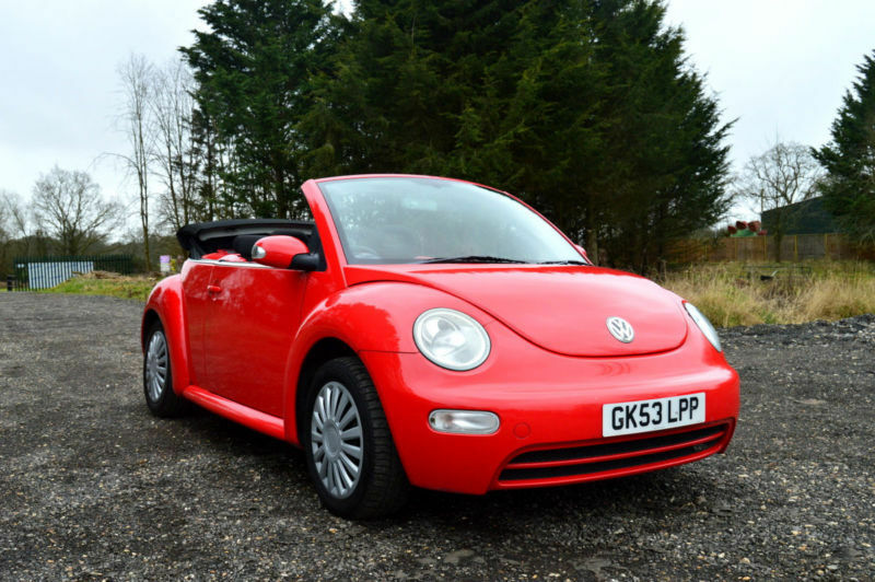 2004 VOLKSWAGEN BEETLE CONVERTIBLE 1.6 MANUAL 4 SEATER CABRIOLET RED PX SWAP   in Hillingdon ...