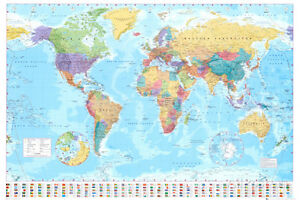 Vintage World Map Poster EBay - Image of the world map