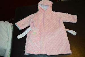 Two Toddler Bath Robes - Green & Pink