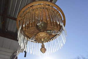 Chandelier.  Antique Brass and Glass.