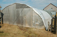 20' x 36' Poly Greenhouse With Roll up sides,Benches,Pots,Plants