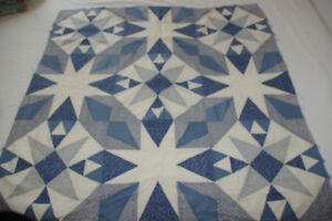 "Quilt Top - 36"" x 36"" in Blue and Ivory"