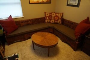 Hand Carved Wood Bench Sectional