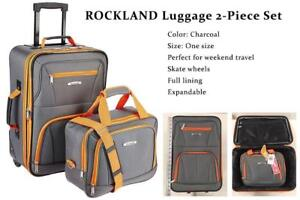 NEW ROCKLAND Luggage 2-Piece Set, Charcoal, One Size Condtion: New, Charcoal, One Size, No box