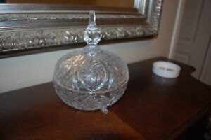 """Crystal """"candy"""" bowl with lid"""