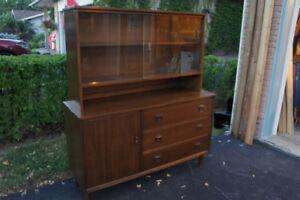 Vintage walnut finish china cabinet