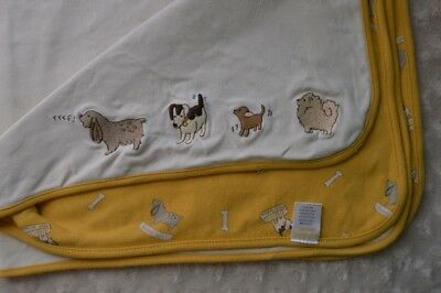 Gymboree Puppy Dog Show Baby Blanket Golden Yellow White Gray Security Lovey
