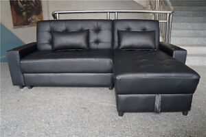 %% 3 IN 1 BLACK BONDED LEATHER CHAISE SOFA BED STORAGE COUCH **