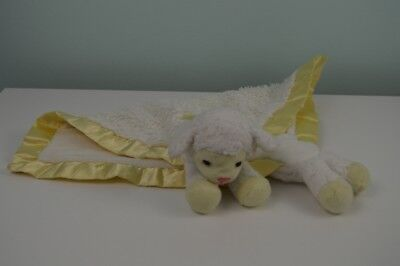 Aurora Baby Lamb Sheep Lovey Security Blanket White Yellow Silky Satin Edge