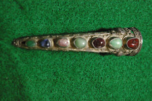 Vintage Silver Pierced/Hammered Conical Natural Gem Stone Pin