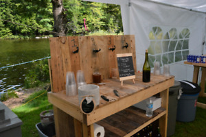 Rustic Pallet Wood Bar - Built and Used for Wedding