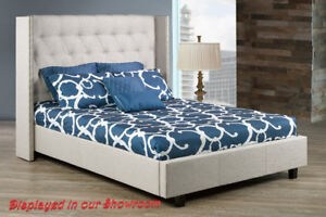 CANADA MADE  FABRIC BED WITH WING & STUDS, DOUBLE, QUEEN, KING