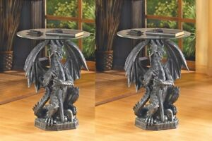 Set of 2 Black Gothic Dragon Glass Top Accent/End Table