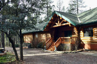 Log Lodge on the River in the Mountains of Arizona
