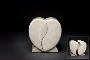 MARBLE DOUBLE HEARTS HUSBAND & WIFE COMPANION URN