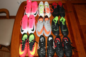 7 pairs of soccer cleats Sizes 5-9
