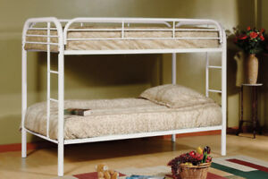 SINGLE OVER SINGLE METAL BUNKBED IN WHITE OR BLACK