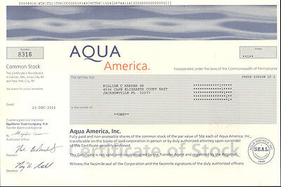 Aqua America   Collectible Water Utility Stock Certificate