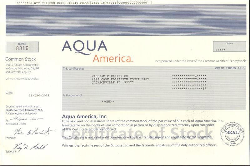 Aqua America > collectible water utility stock certificate