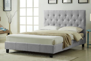 NEW ★ Linen-Style Fabric Platform Bed with Tufted Headboard