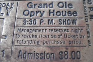 solid brass grand ole opry ticket