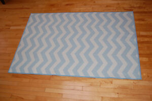 Blue and White Chevron Rug