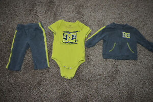 Baby Boy Lime Green & Grey DC 3 Piece Sweat Outfit 6-9 months