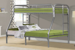 SINGLE OVER DOUBLE METAL BUNKBEDS IN WHITE - BLACK - SILVER