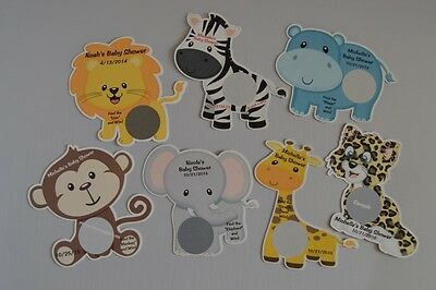 UNIQUE PERSONALIZED JUNGLE ANIMAL BABY SHOWER PARTY FAVOR SCRATCH OFF LOTTO GAME - Jungle Baby Shower Games