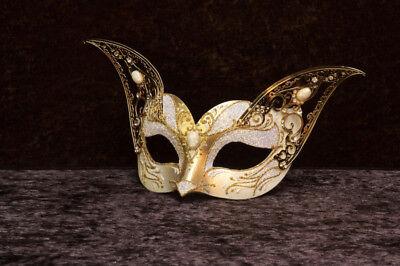Mask Venice Cat Gattino White Golden Paper Mache Metal Top Quality 22455