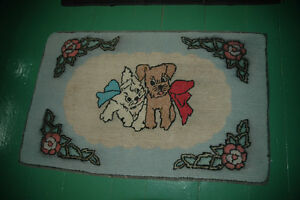 Vintage Kitten and Puppy hooked rug -- handcrafted in NS!
