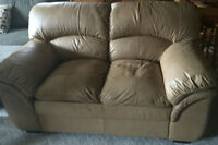 Leather beige love seat