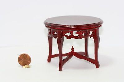 Dollhouse Miniature Hand Carved Round Mahogany Table