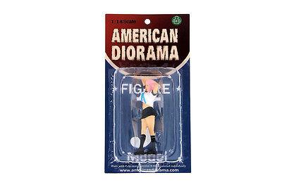 """NAOMI IN WHITE AMERICAN DIORAMA 1:18 Scale Figurine 3.25"""" Female LADY Figure"""