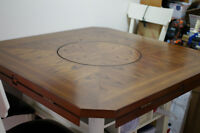 Cottage Dining table - storage lazy Susan and 6 leather chairs